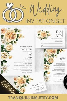 Printable or Printed Bridal Shower Invitation Yellow /& Blue  Friends Floral Watercolor  Spring  Delicate  Wedding Details  Green
