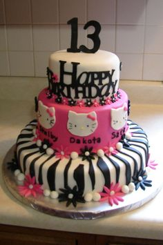 Birthday Cakes for Teen Girls | Hello Kitty for three teenage girls