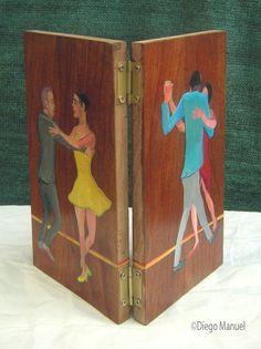 """""""bailarines de tango"""" , acrílico sobre tabla de madera , díptico de frente y dorso, 29,5 x 16, 5 cm. cada tablilla, 2012"""