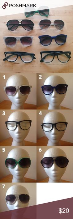 8 Sunglasses Bundle 😎 Sunglasses bundle perfect for someone who  always has just the right pair of sunnies for each OOTD!   Not sure if the whole set will work for you? Keep the ones you love and rePosh the rest!  Brands: Target/Merona/Xhiliration (3,6,7), Victoria's Secret (8), Forever 21 (1,5)  These are all pre-loved items and some wear is evident, mostly with arms that are a bit loose. However all frames and lenses are EUC. All lenses are in good condition with no scratches. Pairs 3 & 4…