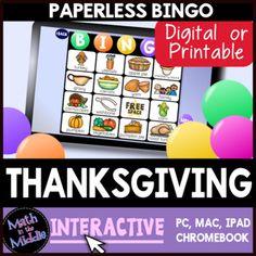 Thanksgiving Interactive Digital Bingo Game - Distance Learning