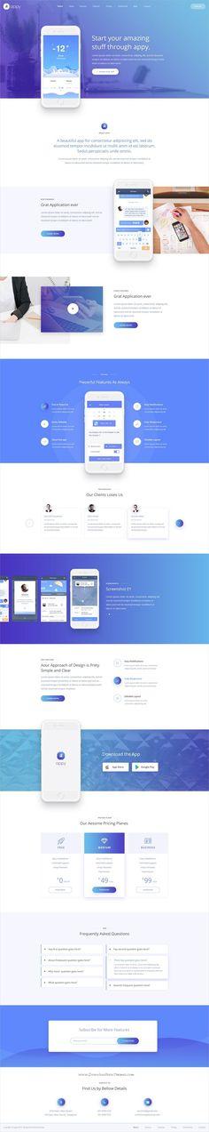 Appy App Landing PSD Template by Blazethemez Design Sites, Graphisches Design, Web Ui Design, Layout Design, Blog Design, Sites Layout, Web Layout, Marketing Digital, Mail Marketing