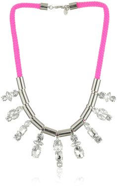 """nOir """"JAIPUR"""" NEON PINK AND SILVER TUBING COLLAR NECKLACE"""