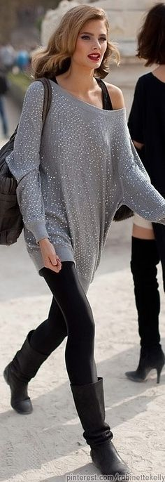 Street Style ~ gray and black #fashion #streetstyle