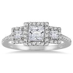 TOPSELLER! 1.00 Carat Princess Diamond Three Sto... $999.00