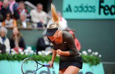 Maria Sharapova celebrates her fourth round win over Klara Zakopalova.