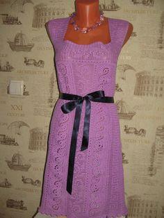 Платье крючком (филе+ленточное кружево)