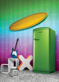 """Are you brave enough to place a Lime Green fridge in your kitchen? This retro refrigerator from Gorenje is part of the """"Funky Collection"""". Gorenje Retro, Retro Refrigerator, Range Cooker, Household, Collection, Appliances, Design, Green, Brave"""