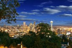 Nice night view of Seattle space needle from a home in Queen Anne.  Found this photograph from seattlehomesinsider.com.