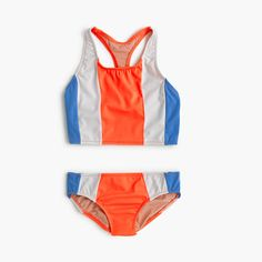 "This tankini is great for the ""sporty"" girls who also likes a little style! J Crew sizes 2-14, also comes in navy with pink."