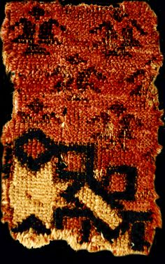 """Early Fostat rug fragment, 13-14th century, Seljuq Sultanate. listed as plate no:2 by Carl Johan Lamm, """"Carpet Fragments"""""""
