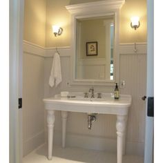 Bathroom Powder Room Design,  Love the wainscotting height and sink