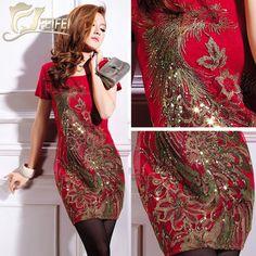 Red/Black/White M,L,XL,XXL,3XL4XL,5XL Phoenix Embroidery Slim plus size knee-length Summer Spring Elegant Vintage 2014 new dress