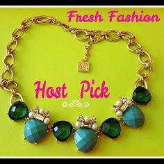 """Turquoise Rhinestone &Pearl Chunky Jewel Necklace HOST PICK FRESH FASHION PARTY!!   Gorgeous!! Turquoise Faceted Rhinestone &Pearl Jewel  Chunky,Shiny Chain Statement  Necklace  This unbelievable high quality ANNE KLEIN gold chunky chain necklace has faux turquoise opaque faceted stones,clear acrylic turquoise huge rhinestones, clear emerald cut and round rhinestones,pearls   Length=19"""" fully extended  WOW   Check out my other cool and UNIQUE accessories!!! Anne Klein Jewelry Necklaces"""