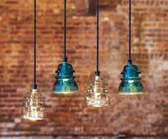 Recycling Glass Insulators Into Pendant Light - All About Decoration Electric Insulators, Insulator Lights, Glass Insulators, Diy Pendant Light, Kitchen Pendant Lighting, Pendant Lights, Pendant Lamps, Vintage Industrial Lighting, Industrial Style