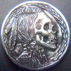 STEPHAN MILES HOBO NICKEL - SKULL WARRIOR - 1937 BUFFALO PROFILE (1 of 2 identical carvings made into cufflinks) Hobo Nickel, Awesome Stuff, Buffalo, Cufflinks, Skull, Carving, Profile, User Profile, Wood Carvings