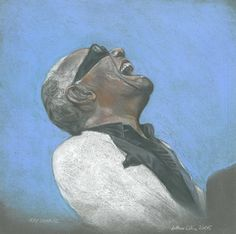 Ray Charles - Pre-sightloss artwork by Arthur Ellis