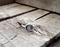 Pink Purple and Black Mother of Pearl Solitaire Ring in Sterling Silver by GildedBug, $22.00 USD