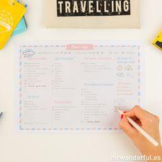Descargable lista para equipaje /  travel planner #travelplanner #freebie #download