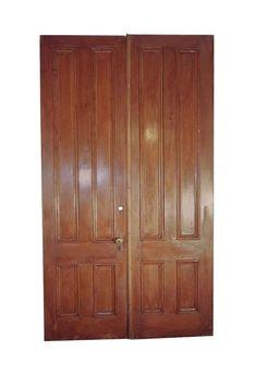 Antique 4 Pane Wood Entry Double Doors 101 x 57.5 Arched Doors, Panel Doors, Double Entry Doors, Antique Interior, Antique Doors, Pocket Doors, Closet Doors, Wooden Doors, Dark Wood
