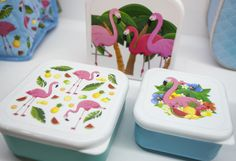 Tropical Flamingo Giftware Range Set of Three Lunch Boxes / Snack Pots #flamingo #lunchbox #giftware #accessories