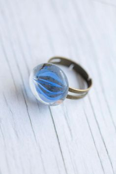 Blue Fused Glass Handmade Cocktail Ring by WhiteLilyDesign, $10.00
