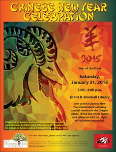 Chinese New Year Celebration at the Thousand Oaks Library on Saturday, January Design by Russell Paris - Jan New Year Celebration, Chinese New Year, Orchestra, January, Events, Graphic Design, Paris, Celebrities, Music