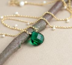 Emerald Green Necklace Green Quartz with Pearls in by BlueRoomGems, $68.00