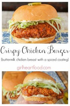 Buttermilk Fried Crispy Chicken Burger This fried Crispy Chicken Burger is juicy and delicious! Chicken breast is soaked in buttermilk and has a generously spiced coating. It makes for a satisfying dinner that hits the spot every time. Roast Beef Sandwich, Chicken Sandwich Recipes, Pizza Recipes, Crispy Chicken Burgers, Buttermilk Chicken Burger, Homemade Chicken Burgers, Ground Chicken Burgers, Buffalo Chicken Burgers, Chicken Sliders