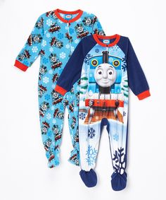 Look at this Blue Thomas the Train Footie Set - Toddler on #zulily today!