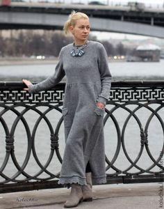 Купить Мышка. - серый, однотонный, вязаное платье, теплое платье, Валяние, koluchka, меринос 100%