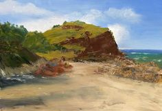 """""""Cabarita Headland Qld"""" - 40cm x 27cm - Painted at an oil workshop with Todd Whisson 18.6.14"""