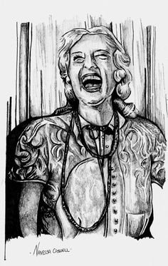 Baby Jane, Pen & ink By the Caswell Twins Http://www.facebook.com/vanashartwork #realism #inkdrawing #sharpiedrawing  #draw #greyscale #movie  #filmart #dynamicduos #realisticdrawing #spooky #scary #horror #horrorfilm #laughing #babyjane