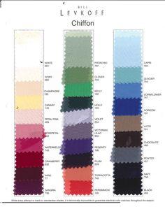 Bill Levkoff Chiffon Color Swatch card