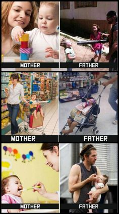 In honor of Father's Day, here are some Mother vs Father pics that I found for your viewing pleasure. Life would sure be dull without our dads! Thanks dads! Most Hilarious Memes, Funny Baby Memes, Latest Funny Jokes, Very Funny Jokes, Cute Funny Quotes, Funny Video Memes, Crazy Funny Memes, Really Funny Memes, Funny Relatable Memes