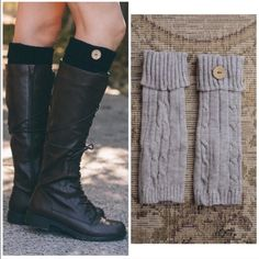 PROMO Knit Boot Cuffs Mocha, gray black and Ivory leg Warmer boot cuffs with button detail price is for one pair . Vivacouture Accessories Hosiery & Socks