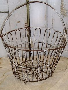 Vintage wire baskets old painted egg basket farmhouse kitchen decor metal gathering Vintage Wire Baskets, Old Baskets, Egg Basket, Farmhouse Kitchen Decor, Country Decor, Country Living, Old Antiques, Crates, Metal