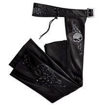 Womens Small Harley Davidson Wicked Skull Bling Leather Chaps 97118 09VW RARE | eBay