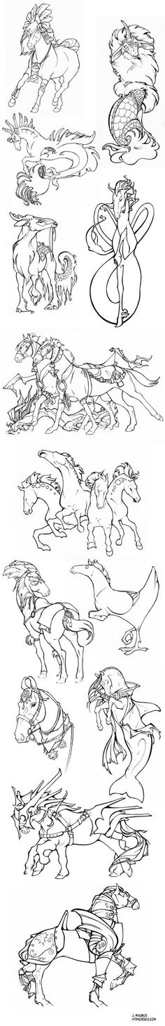 Mythical Horses Sketchdump by sketcherjak on DeviantArt