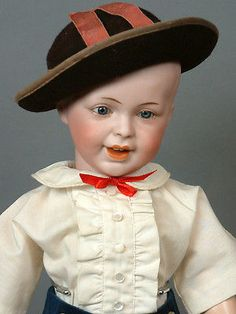 "RARE Astounding 17"" French SFBJ 235 Laughing Character Boy Antique Doll So CUTE!"