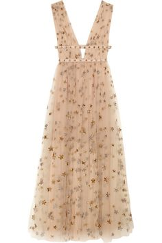 VALENTINO Sequin-Embellished Tulle And Georgette Gown. #valentino #cloth #dresses