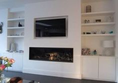 Ideas for living room tv wall decor ideas mount tv Built In Tv Wall Unit, Built In Shelves Living Room, Living Room Storage, Living Room Tv, Living Room With Fireplace, Built In Tv Cabinet, Alcove Tv Unit, Alcove Storage, Tv Built In