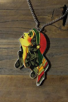 Old school tattoo gypsy lady necklace by Little Rat´s Boutique. Diy Jewellery, Jewelry, Old Tattoos, Handmade Necklaces, Old School, Gypsy, Boutique, Pendant, Illustration