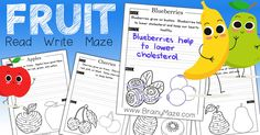 A fun collection of Heathy mazes for students! Each activity page teaches children the health benefits of a specific fruit. Studentsread, write, maze and trace their way to a good understanding of healthy fruits. This fantastic set of healthy fruit activity pages is a great way to combine health with writing activities. Print this set FREE from BrainyMaze.com  Apple Maze & Activity Sheet Apples grow on trees. Apples have good fiber. Apples can be red, green and yellow. Banana Maze ...