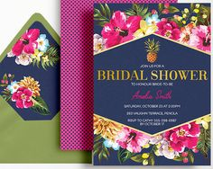 Tropical Bridal Shower Invitation Navy Pink by WestminsterPaperCo