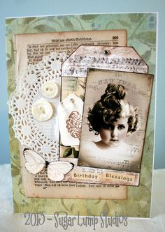 BIRTHDAY Blessings HANDMADE Paper Collage Greeting card  with button accents