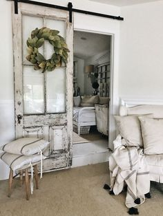 Looking for some easy family room decorating ideas? Here& a how I transform. Looking for some easy family room decorating ideas? Here& a how I transformed our family room by shopping the house. Bedroom Barn Door, Barn Door Closet, Family Room Decorating, Decorating Ideas, Decor Ideas, Decoration Pictures, Door Decorating, Theme Ideas, Country Farmhouse Decor