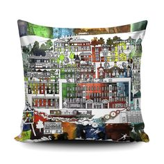 This bright cushion captures Saltaire's enduring beauty and will add charm to any space. As designated a World Heritage Site, Saltaire's key landmarks like the Salts Mill and the United Reform Church Handmade Cushion Covers, Handmade Cushions, Watercolor Design, Floral Watercolor, Watercolour, Studio Logo, Toss Pillows, Pigment Ink, Wisteria