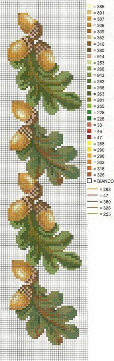 cross stitch acorn pattern borders - Google Search