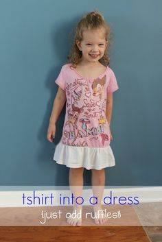 Easy t-shirt to dress refashion Sewing Kids Clothes, Sewing For Kids, Sewing Ideas, Sewing Projects, Kid Projects, Sewing Crafts, Sewing Patterns, Diy Clothing, Clothes Refashion